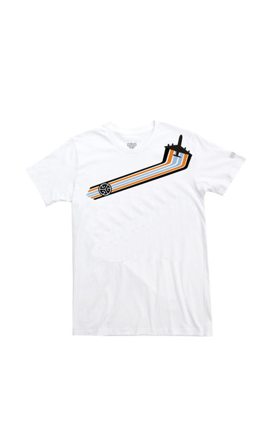 Digital Direct to garment printed, soft cotton T-shirt with the RETRO-JET AIRLINER print by Grubwear