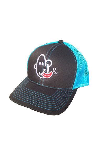 Black and teal blue snapback mesh trucker with Grubwear SLURP logo embroidered.