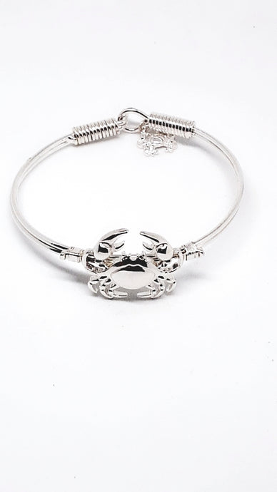Crab Wire Bangle Bracelet With Dangling Crab Charm