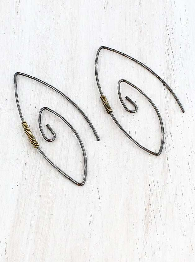 TARNISHED BRASS FASHION SPIRAL WIRE EARRINGS