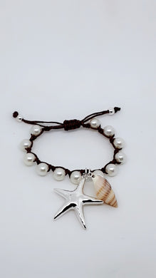SILVER-TONE STARFISH & SHELL PEARL LIKE BLACK ROPE PULL CLOSURE BRACELET
