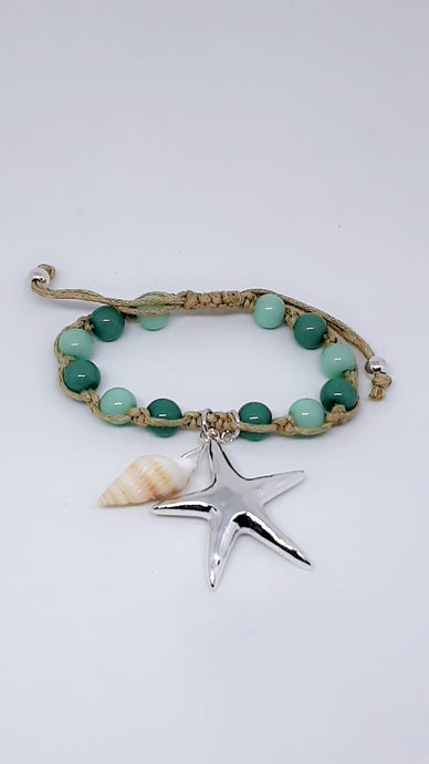 Beach Chakra Lovers Starfish And Seashell Green Beaded Rope Bracelet
