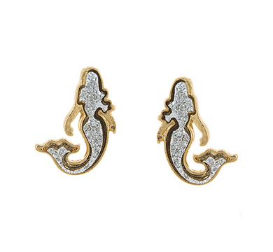 DIAMOND DUST GOLD-TONE STUD MERMAID EARRINGS