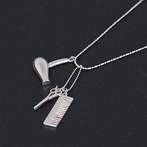 I'm A Hairstylist Silver-Tone  Necklace With Comb, Scissors, Blow Dryer Charms