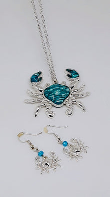 BLUE STONE CRAB NECKLACE & EARRINGS SET