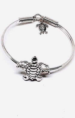 TURTLE LOVERS SILVER-TONE TURTLE BANGLE BRACELET WITH DANGLE TURTLE CHARM