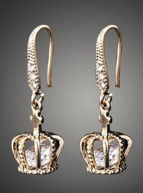 Gold Tone Princess/Queen Crown Drop Earrings With Crystal Rhinestones