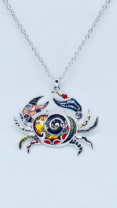 Whimsical Colorful Crab Necklace