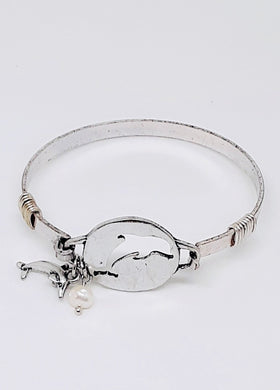 REMEMBER THE DOLPHINS SILVER-TONE BANGLE BRACELET