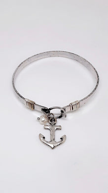 ANCHOR BANGLE BRACELET WITH FAUX PEARL DANGLE CHARM