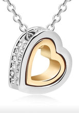 Load image into Gallery viewer, Heart Enclosed Clear Rhinestone Heat Necklace