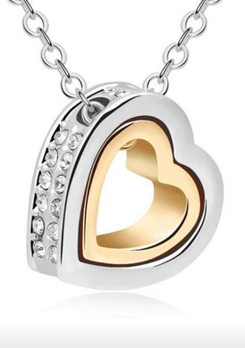 Heart Enclosed Clear Rhinestone Heat Necklace