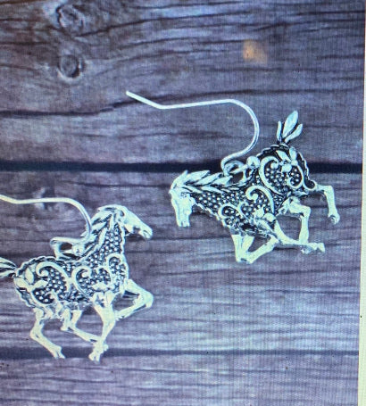 Love Horses, These Beautiful Drop Filigree Horse Earrings Ate For You
