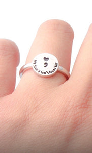 "Heart Semicolon ""My Story Isn't Over Yet"" Ring"
