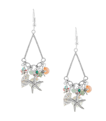 TAKE ME TO THE BEACH SILVER-TONE CHAIN SHELLS, STARFISH AND PEARL LIKE DROP EARRINGS