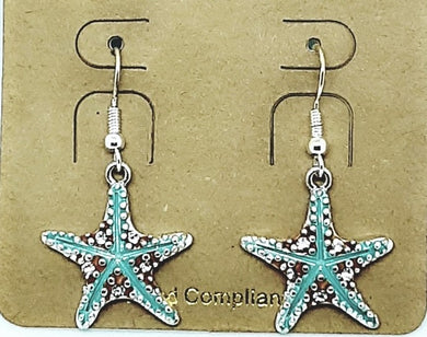 WHEN THE SEA CAPTURES YOUR HEAT BLUE STARFISH DROP EARRINGS