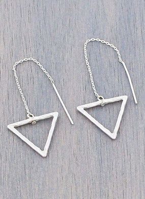 SILVER-TONE TRIANGLE THREADER DROP EARRINGS