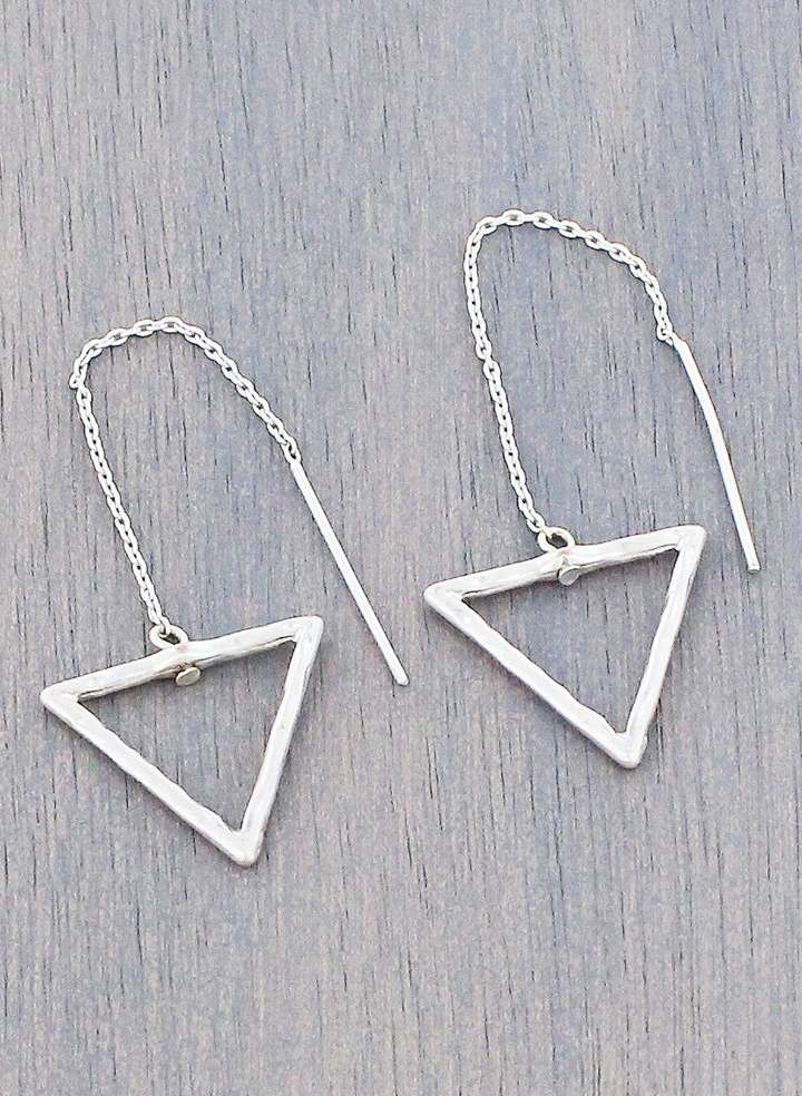 Simple Style Silver-Tone Triangle Threader Earrings