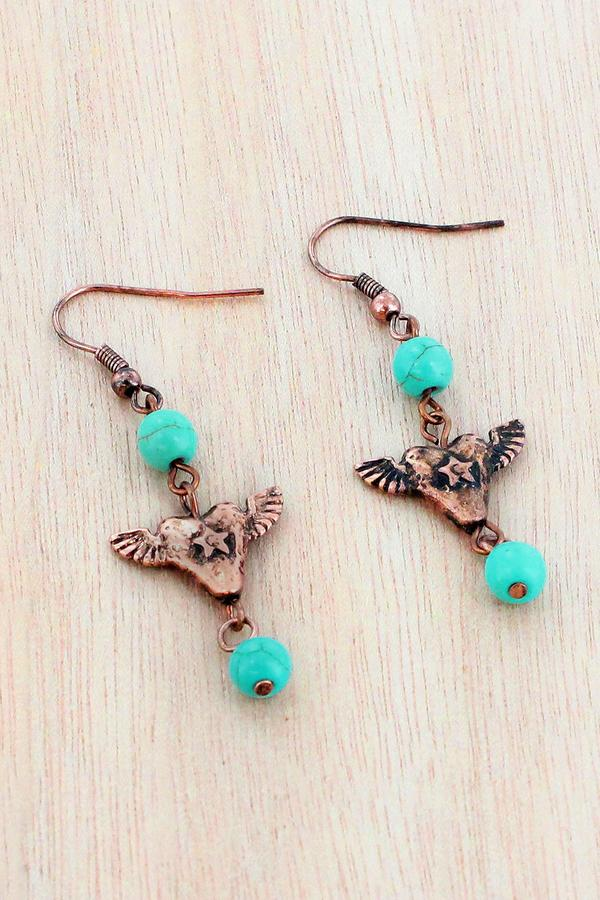 Perfect Accessory For That Country Concert or Favorite Honky Tonk Western Tarnished Brass Tone Dangle Earrings With Faux Turquoise Beads