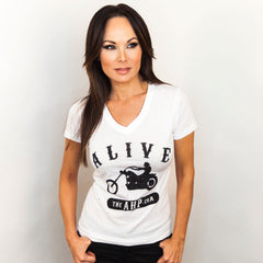 ALIVE BIKER T - WOMENS V NECK