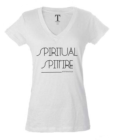 SPIRITUAL SPITFIRE [Limited Edition] - Unisex #Tiffirmation V-Neck (White) by Tiffany Hendra