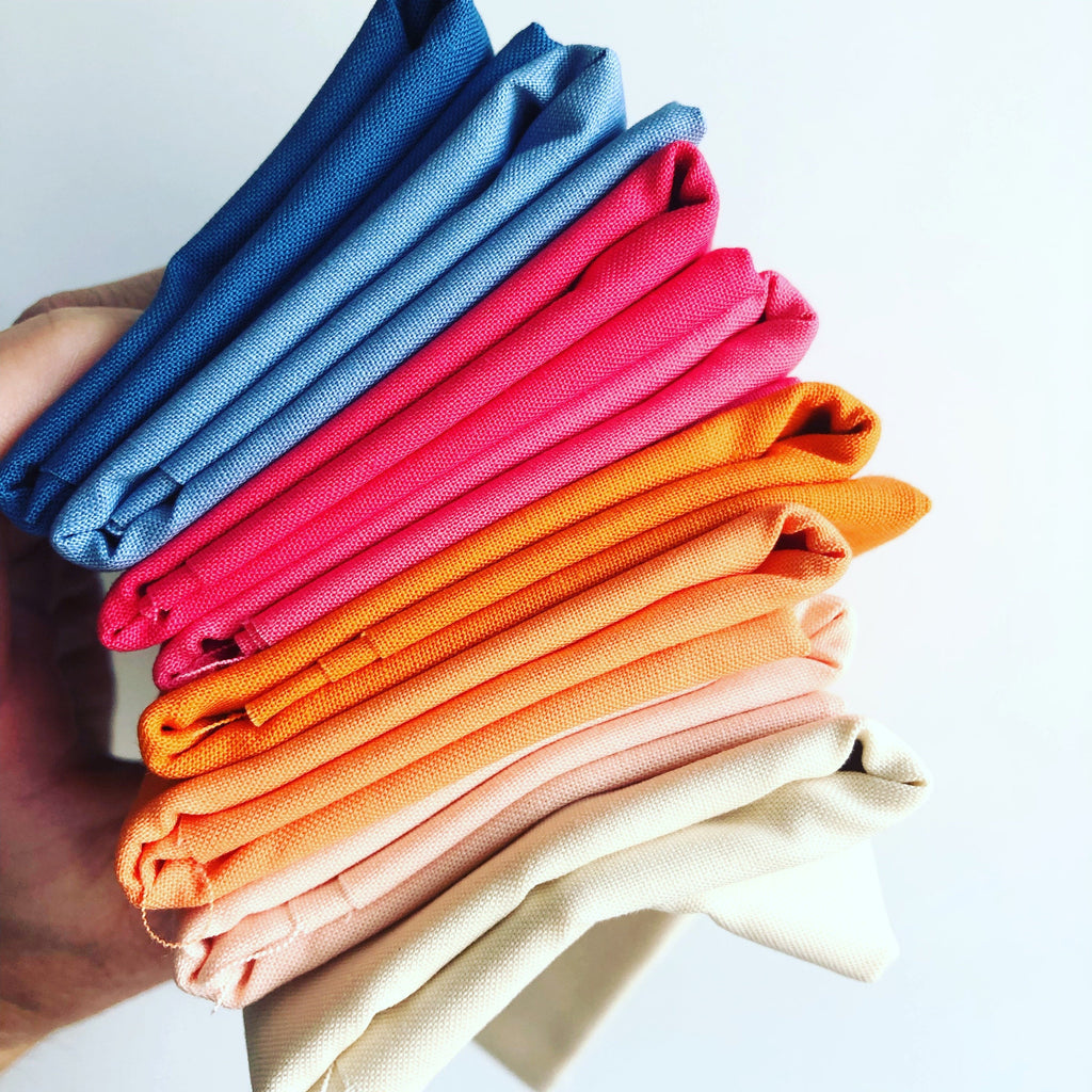 September Kona Solids Club - Cadet, Dresden Blue, Watermelon, Punch, Kumquat, Mango, Ice Peach, Cream