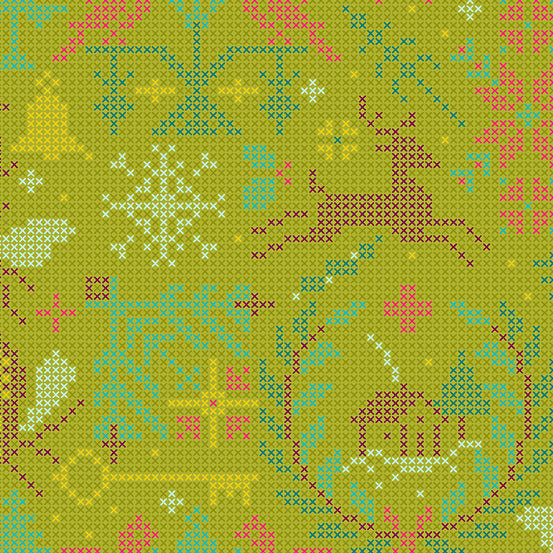 Crossed in Olive - Holiday fabric collection Alison Glass