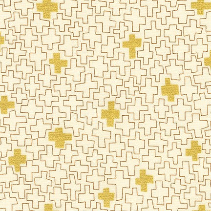 Geo Plus in Natural - Metallic Gold - Karen Lewis Textiles - Wayside fabric collection