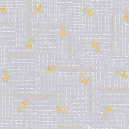 Geo Vines in Grey - Metallic Gold - Karen Lewis Textiles - Wayside fabric collection