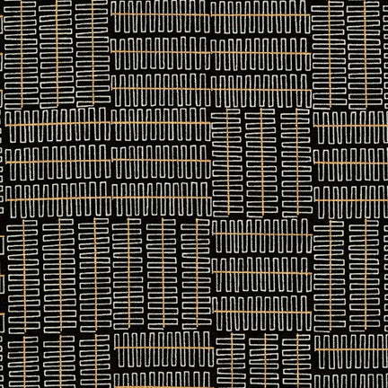 Geo Lines in Black - Metallic Gold - Karen Lewis Textiles - Wayside fabric collection