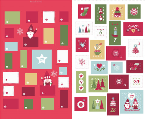 Hygge Christmas Advent Calendar Panel in Red - Lewis and Irene