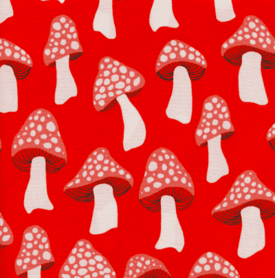 Mushrooms in Red - Sarah Watts - Cotton and Steel - Front Yard Fabric Collection
