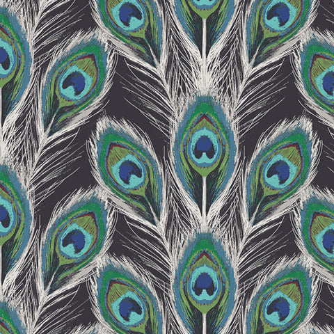 Paon Plumes Royal in Rayon- Art Gallery Fabrics (Available in July)