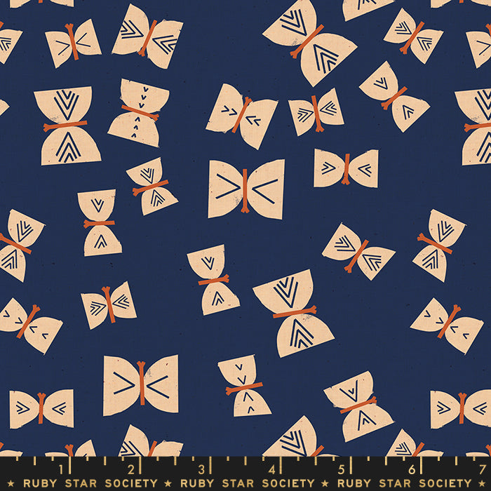 Butterflies Indigo - Ruby Star Society - Alma fabric collection