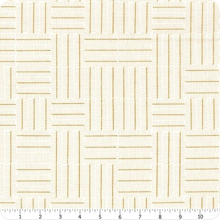 Geo Lines in White - Metallic Gold - Karen Lewis Textiles - Wayside fabric collection