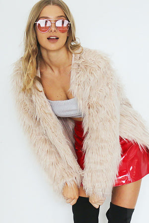 PORTOFINO FAUX FUR JACKET // BLUSH