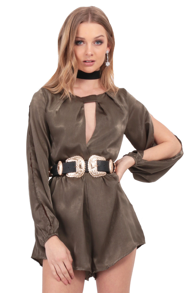Ria Rose Playsuit / Olive