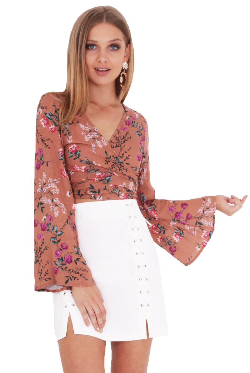 BED OF ROSES WRAP TOP