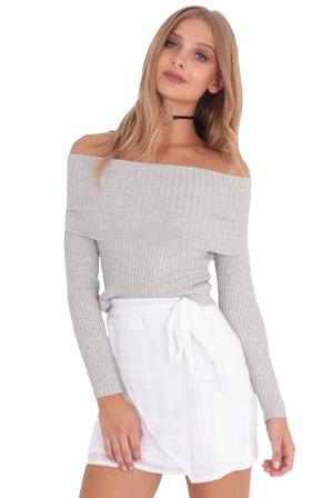LOVE LESSONS TOP BARDOT TOP // GREY