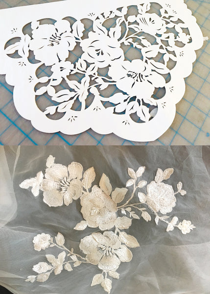 Custom papel picado made to match wedding dress florals - Ay Mujer Shop