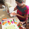 Yreina of Ay Mujer Shop - learning how to sew our Christmas Tree papel picado banners