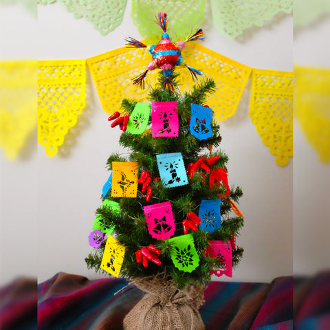 Christmas tree papel picado garland by Ay Mujer Shop