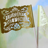 Gold personalized papel picado centerpiece flags by Ay Mujer
