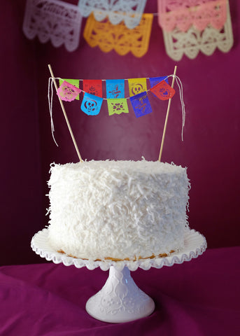 Fiesta cake topper papel picado banners by Ay Mujer