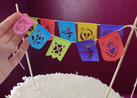 Tiny cake topper banners papel picado by Ay Mujer