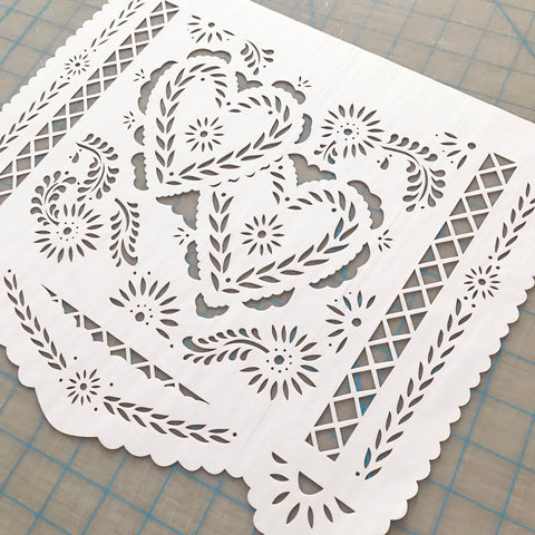 Two Hearts papel picado by Ay Mujer shop