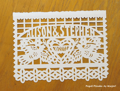 Hand cut papel picado wedding flag for framing - Ay Mujer shop