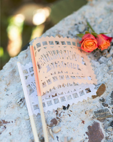 Peach wedding papel picado flags by aymujershop
