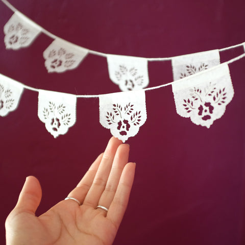 Original white papel picado banners by Ay Mujer shop