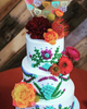 Mexican Embroidery wedding cake topper, fiesta papel picado by Ay Mujer